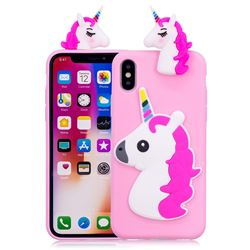 Unicorn Soft 3D Silicone Case for iPhone XS / X / 10 (5.8 inch) - Rose