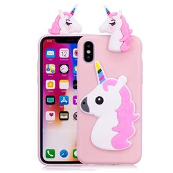 Unicorn Soft 3D Silicone Case for iPhone XS / X / 10 (5.8 inch) - Pink