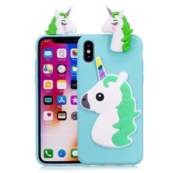 Unicorn Soft 3D Silicone Case for iPhone XS / X / 10 (5.8 inch) - Baby Blue