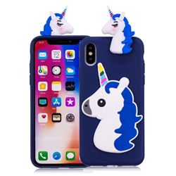 Unicorn Soft 3D Silicone Case for iPhone XS / X / 10 (5.8 inch) - Dark Blue