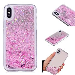Glitter Sand Mirror Quicksand Dynamic Liquid Star TPU Case for iPhone XS / X / 10 (5.8 inch) - Cherry Pink