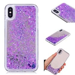 Glitter Sand Mirror Quicksand Dynamic Liquid Star TPU Case for iPhone XS / X / 10 (5.8 inch) - Purple