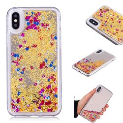 Glitter Sand Mirror Quicksand Dynamic Liquid Star TPU Case for iPhone XS / X / 10 (5.8 inch) - Yellow