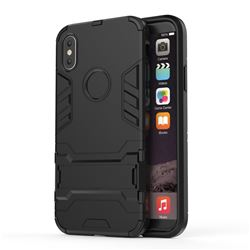 Armor Premium Tactical Grip Kickstand Shockproof Dual Layer Rugged Hard Cover for iPhone XS / X / 10 (5.8 inch) - Black