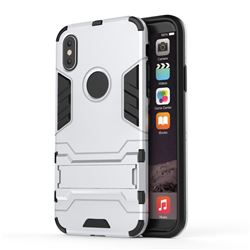 Armor Premium Tactical Grip Kickstand Shockproof Dual Layer Rugged Hard Cover for iPhone XS / X / 10 (5.8 inch) - Silver