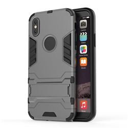Armor Premium Tactical Grip Kickstand Shockproof Dual Layer Rugged Hard Cover for iPhone XS / X / 10 (5.8 inch) - Gray