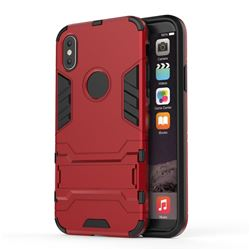 Armor Premium Tactical Grip Kickstand Shockproof Dual Layer Rugged Hard Cover for iPhone XS / X / 10 (5.8 inch) - Wine Red