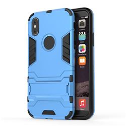 Armor Premium Tactical Grip Kickstand Shockproof Dual Layer Rugged Hard Cover for iPhone XS / X / 10 (5.8 inch) - Light Blue