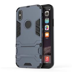 Armor Premium Tactical Grip Kickstand Shockproof Dual Layer Rugged Hard Cover for iPhone XS / X / 10 (5.8 inch) - Navy