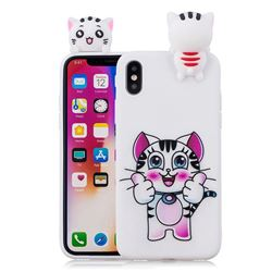 Cute Pink Kitten Soft 3D Climbing Doll Soft Case for iPhone XS / X / 10 (5.8 inch)