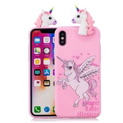 Wings Unicorn Soft 3D Climbing Doll Soft Case for iPhone XS / X / 10 (5.8 inch)