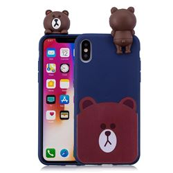 Cute Bear Soft 3D Climbing Doll Soft Case for iPhone XS / X / 10 (5.8 inch)