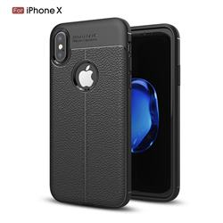 Luxury Auto Focus Litchi Texture Silicone TPU Back Cover for iPhone XS / X / 10 (5.8 inch) - Black