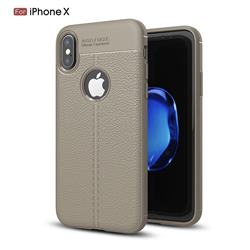 Luxury Auto Focus Litchi Texture Silicone TPU Back Cover for iPhone XS / X / 10 (5.8 inch) - Gray
