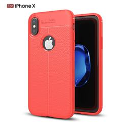 Luxury Auto Focus Litchi Texture Silicone TPU Back Cover for iPhone XS / X / 10 (5.8 inch) - Red