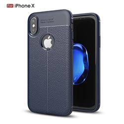 Luxury Auto Focus Litchi Texture Silicone TPU Back Cover for iPhone XS / X / 10 (5.8 inch) - Dark Blue