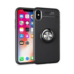 Auto Focus Invisible Ring Holder Soft Phone Case for iPhone XS / X / 10 (5.8 inch) - Black