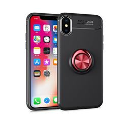 Auto Focus Invisible Ring Holder Soft Phone Case for iPhone XS / X / 10 (5.8 inch) - Black Red