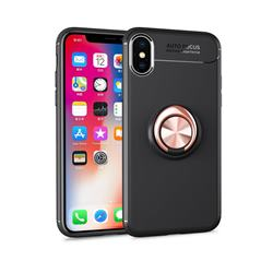 Auto Focus Invisible Ring Holder Soft Phone Case for iPhone XS / X / 10 (5.8 inch) - Black Gold