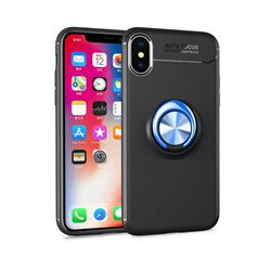 Auto Focus Invisible Ring Holder Soft Phone Case for iPhone XS / X / 10 (5.8 inch) - Black Blue