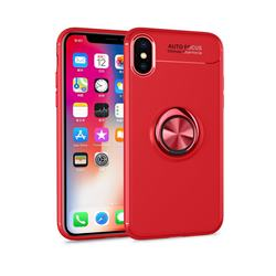 Auto Focus Invisible Ring Holder Soft Phone Case for iPhone XS / X / 10 (5.8 inch) - Red