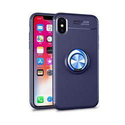 Auto Focus Invisible Ring Holder Soft Phone Case for iPhone XS / X / 10 (5.8 inch) - Blue