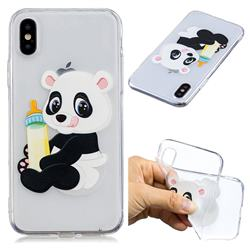 Baby Panda Super Clear Soft TPU Back Cover for iPhone XS / X / 10 (5.8 inch)