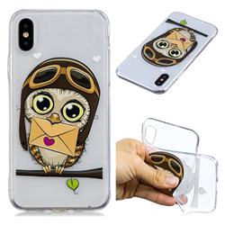 Envelope Owl Super Clear Soft TPU Back Cover for iPhone XS / X / 10 (5.8 inch)