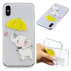 Umbrella Elephant Super Clear Soft TPU Back Cover for iPhone XS / X / 10 (5.8 inch)