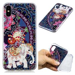 Totem Flower Elephant Super Clear Soft TPU Back Cover for iPhone XS / X / 10 (5.8 inch)