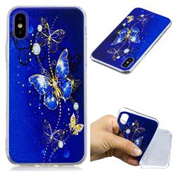 Gold and Blue Butterfly Super Clear Soft TPU Back Cover