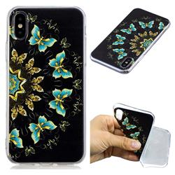 Circle Butterflies Super Clear Soft TPU Back Cover for iPhone XS / X / 10 (5.8 inch)