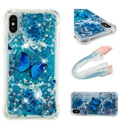Flower Butterfly Dynamic Liquid Glitter Sand Quicksand Star TPU Case for iPhone XS / X / 10 (5.8 inch)