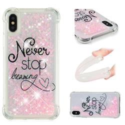 Never Stop Dreaming Dynamic Liquid Glitter Sand Quicksand Star TPU Case for iPhone XS / X / 10 (5.8 inch)