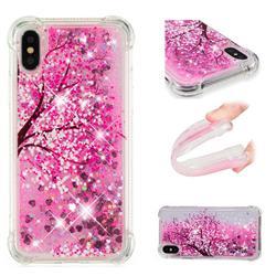 Pink Cherry Blossom Dynamic Liquid Glitter Sand Quicksand Star TPU Case for iPhone XS / X / 10 (5.8 inch)