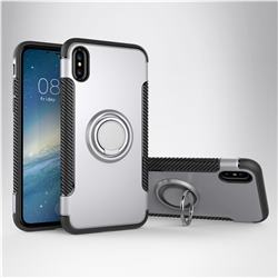 Armor Anti Drop Carbon PC + Silicon Invisible Ring Holder Phone Case for iPhone XS / X / 10 (5.8 inch) - Silver