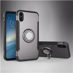 Armor Anti Drop Carbon PC + Silicon Invisible Ring Holder Phone Case for iPhone XS / X / 10 (5.8 inch) - Grey