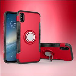 Armor Anti Drop Carbon PC + Silicon Invisible Ring Holder Phone Case for iPhone XS / X / 10 (5.8 inch) - Red