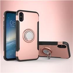 Armor Anti Drop Carbon PC + Silicon Invisible Ring Holder Phone Case for iPhone XS / X / 10 (5.8 inch) - Rose Gold