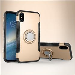 Armor Anti Drop Carbon PC + Silicon Invisible Ring Holder Phone Case for iPhone XS / X / 10 (5.8 inch) - Champagne