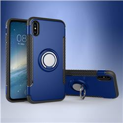 Armor Anti Drop Carbon PC + Silicon Invisible Ring Holder Phone Case for iPhone XS / X / 10 (5.8 inch) - Sapphire
