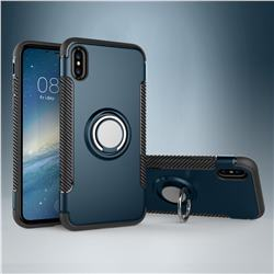 Armor Anti Drop Carbon PC + Silicon Invisible Ring Holder Phone Case for iPhone XS / X / 10 (5.8 inch) - Navy