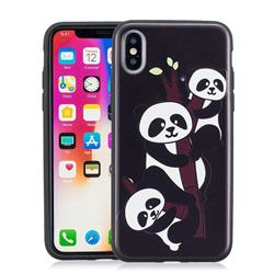 Bamboo Three Pandas 3D Embossed Relief Black Soft Phone Back Cover for iPhone XS / X / 10 (5.8 inch)