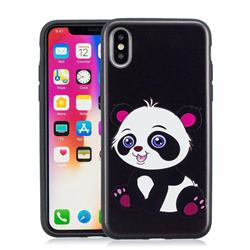 Cute Pink Panda 3D Embossed Relief Black Soft Phone Back Cover for iPhone XS / X / 10 (5.8 inch)