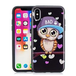 Bad Heart Owl 3D Embossed Relief Black Soft Phone Back Cover for iPhone XS / X / 10 (5.8 inch)