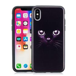 Black Cat Eyes 3D Embossed Relief Black Soft Phone Back Cover for iPhone XS / X / 10 (5.8 inch)