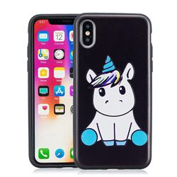 Cute Baby Unicorn 3D Embossed Relief Black Soft Phone Back Cover for iPhone XS / X / 10 (5.8 inch)