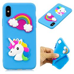 Blue Rainbow Unicorn Soft 3D Silicon Phone Back Cover for iPhone XS / X / 10 (5.8 inch)