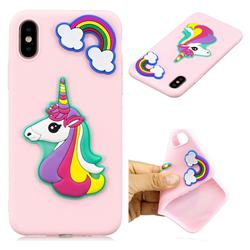 Pink Rainbow Unicorn Soft 3D Silicon Phone Back Cover for iPhone XS / X / 10 (5.8 inch)