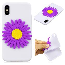 Purple Sunflower Soft 3D Silicon Phone Back Cover for iPhone XS / X / 10 (5.8 inch)
